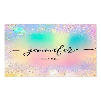 Small Professional Boutique Shop Gold Glitter Holograph Square Business Card Front View