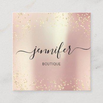 professional boutique shop gold glitter rose silk square business card