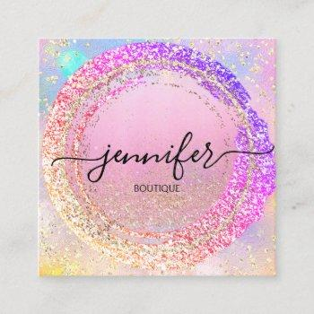 professional boutique shop pink holograph square business card