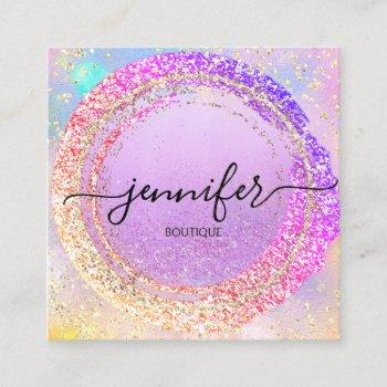 professional boutique shop purple  holograph square business card