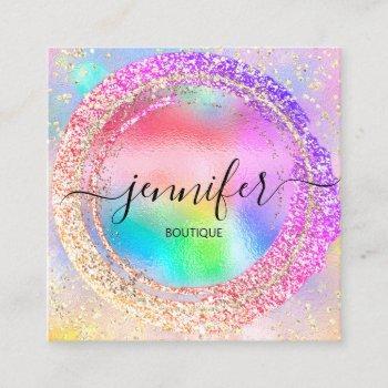 professional boutique shop rainbow holograph square business card