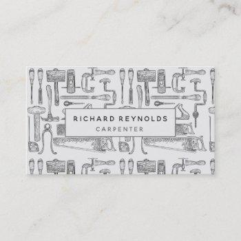 professional carpentry tools vintage gray business card