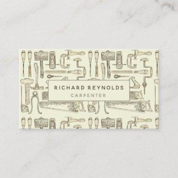 professional carpentry tools vintage sepia business card