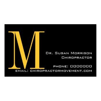 Small Professional Chiropractic Business Cards Yellow Back View