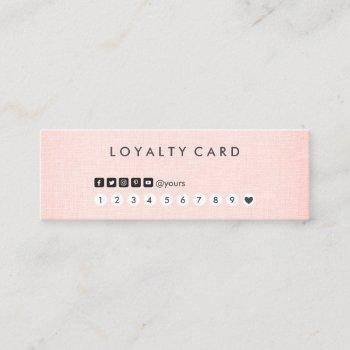 professional clean minimalist blush linen loyalty mini business card