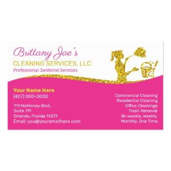 Small Professional Cleaning/janitorial Housekeeping Serv Business Card Front View