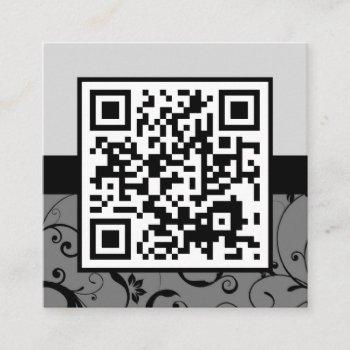 professional damask qr code square business card