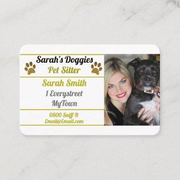 professional dog walker pet sitter business card