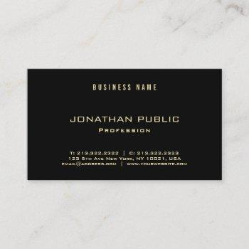 professional elegant gold text black modern luxury business card