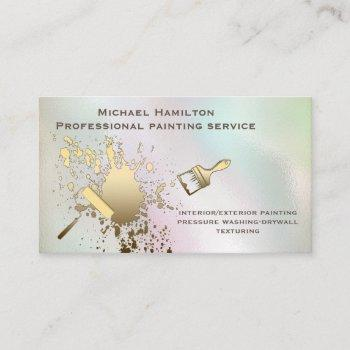 professional elegant holographic  painting service business card