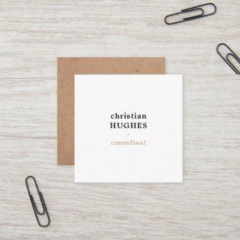 professional elegant minimal kraft brown white square business card