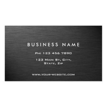 Small Professional Elegant Modern Black Plain Metal Business Card Back View