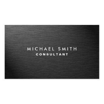 Small Professional Elegant Modern Black Plain Metal Business Card Front View