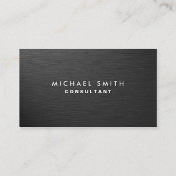 professional elegant modern plain black metal business card