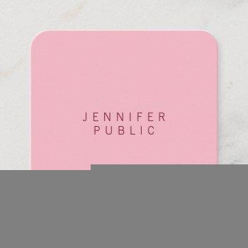 professional elegant pale pink minimalist luxury square business card
