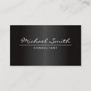 professional elegant plain metal black groupon business card
