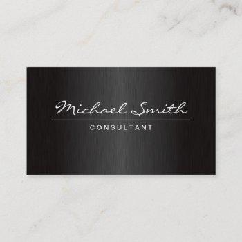 professional elegant plain modern metal black business card