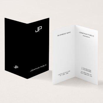 professional elegant simple modern monogram folded business card