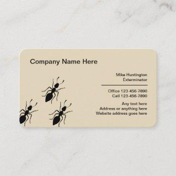 professional exterminator and pest control business card