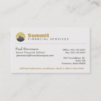 professional financial advisor & analyst finance business card