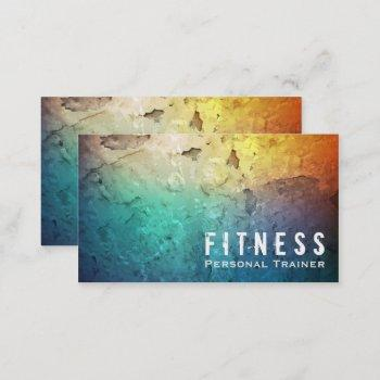 professional fitness personal trainer color grunge business card
