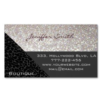 professional glamorous elegant leopard glittery magnetic business card