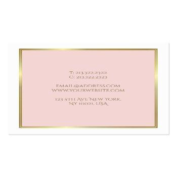 Small Professional Gold Blush Pink White Luxe Plain Square Business Card Back View