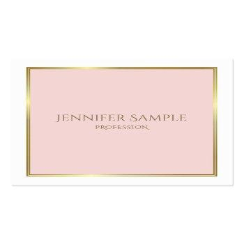 Small Professional Gold Blush Pink White Luxe Plain Square Business Card Front View