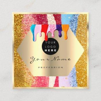 professional gold glitter brush strokes  drips square business card