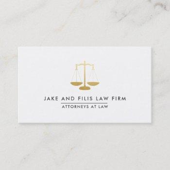 professional gold scales attorney law firm business card
