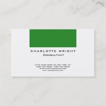 professional green white modern minimalist design business card