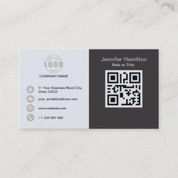 professional grey grey add your logo qr code business card