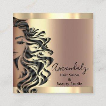 professional hair salon makeup lash rose square square business card