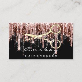 professional hairdresser golden scissors stylist business card