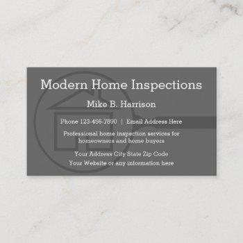 professional home inspection modern design business card