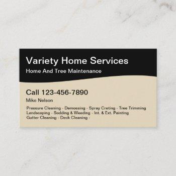professional home services business card