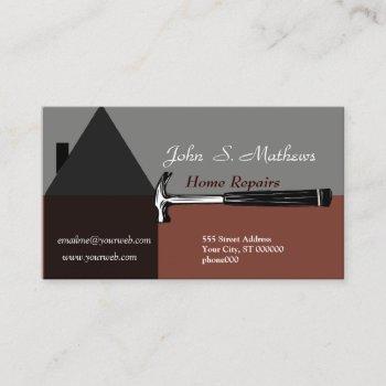professional house construction handyman tool business card