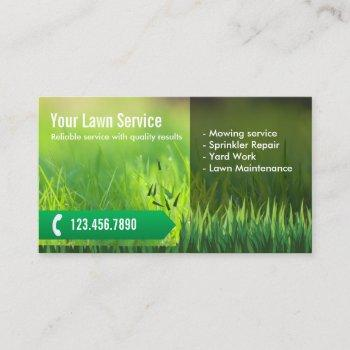 professional lawn care & landscaping business card