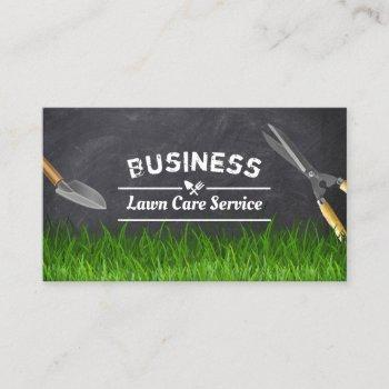professional lawn care & landscaping chalkboard business card