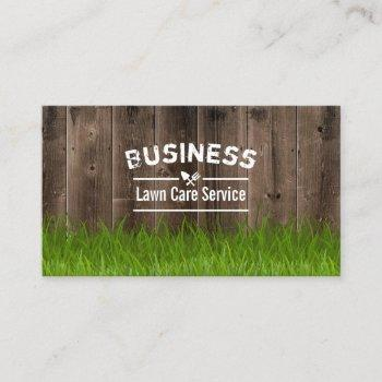 professional lawn care & landscaping service wood business card