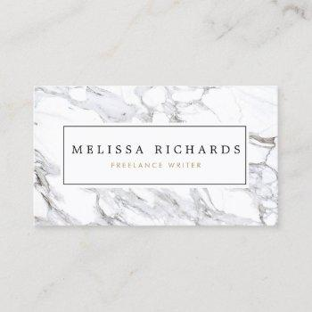 professional luxe minimalist white marble business card