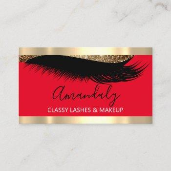 professional makeup artist eyelash gold white red business card