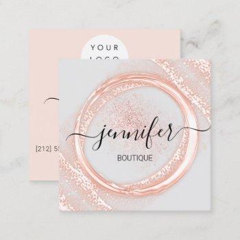 professional makeup artist rose gray powder logo square business card