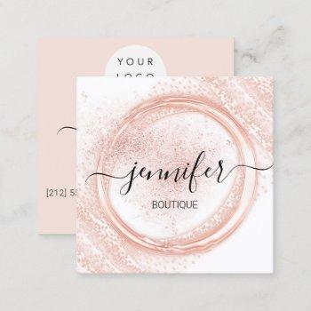 professional makeup artist rose white powder logo square business card