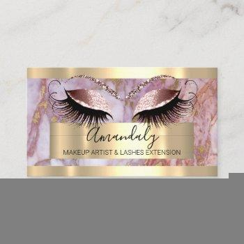 professional makeup  eyelash extension pink marble business card
