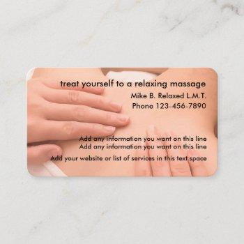 professional massage thereapist business card