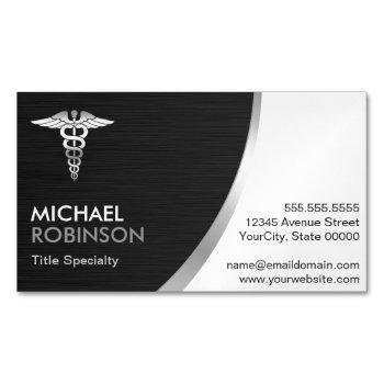 professional medical caduceus logo modern classic business card magnet