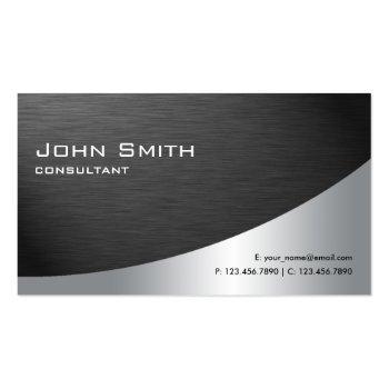 Small Professional Metal Elegant Modern Plain Black Business Card Front View