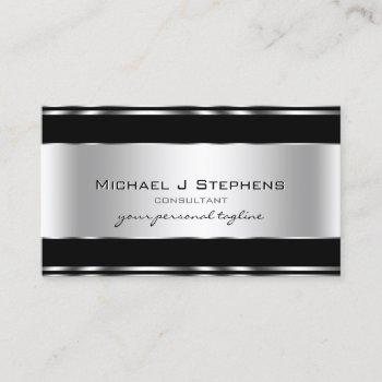 professional metal elegant modern silver black business card