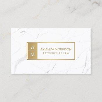 professional minimal monogram gold/white marble business card